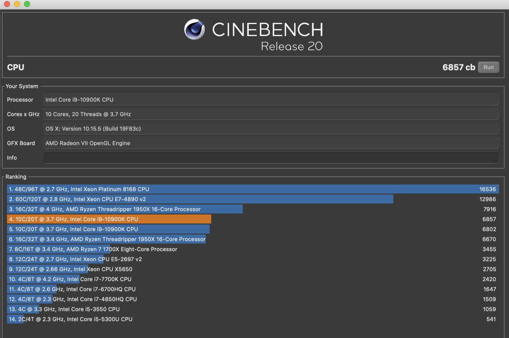 OC的Cinebench R20綻放