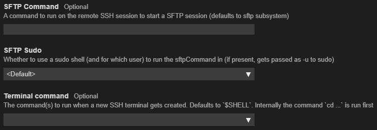 SFTP and Terminal Command config fields