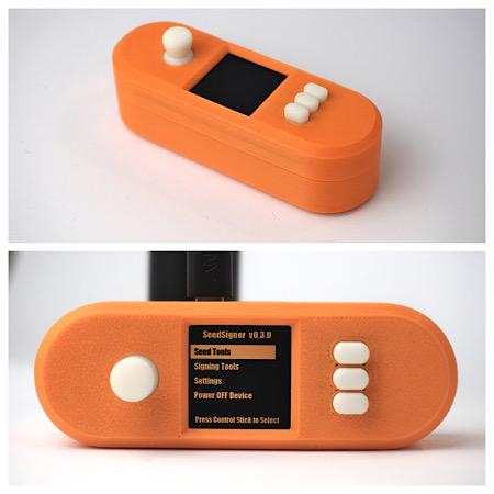Image of SeedSigner in an Orange Pill enclosure
