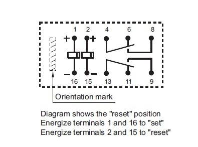 Latching_Relay_Diagram  Coil Latching Relay Wiring on single push button, car alarm, two coil, two coil magnetic, speed up cap, 12vdc dpdt,
