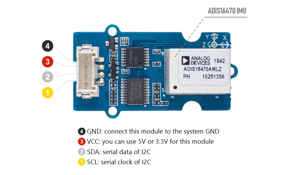 Grove - 6-Axis Digital Accelerometer&Gyroscope ±40g (ADIS16470)pinout-front