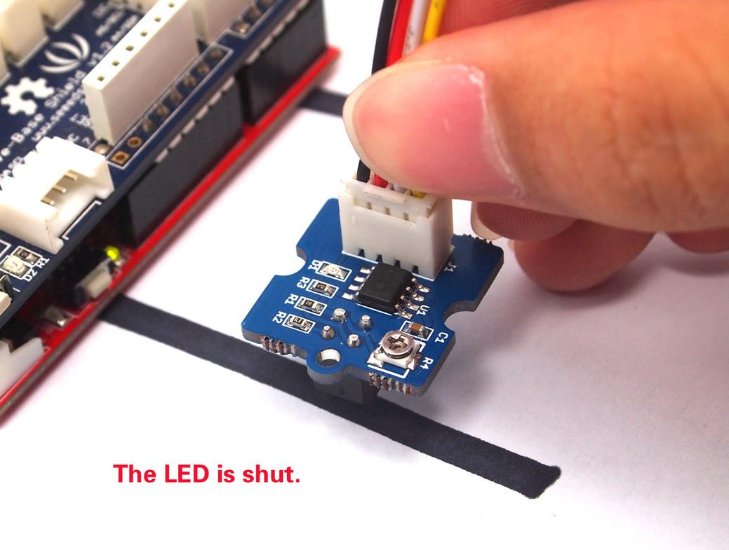 Grove Infrared Reflective Sensor Arduino Potentiometer Led Brightness And Fan Speed 8211 Tutorial 7 The Indicator Should Go Off Over Black Line If It Is Still On Adjust Until