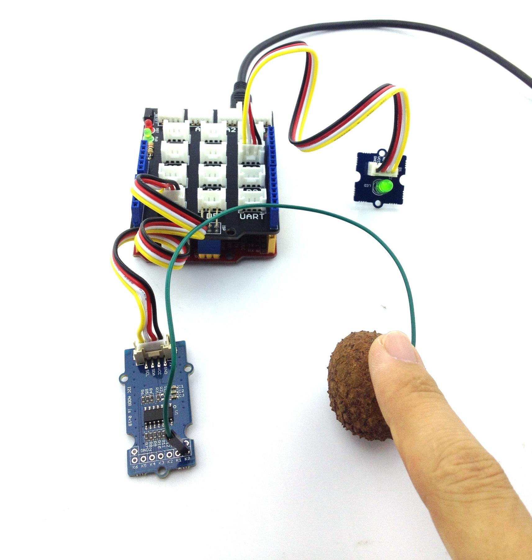 Grove Q Touch Sensor Simple Circuit Design With Photointerrupter Tilt Switch Electronics C On Touching The Lychee Led Would Glow As Can Be Seen Below