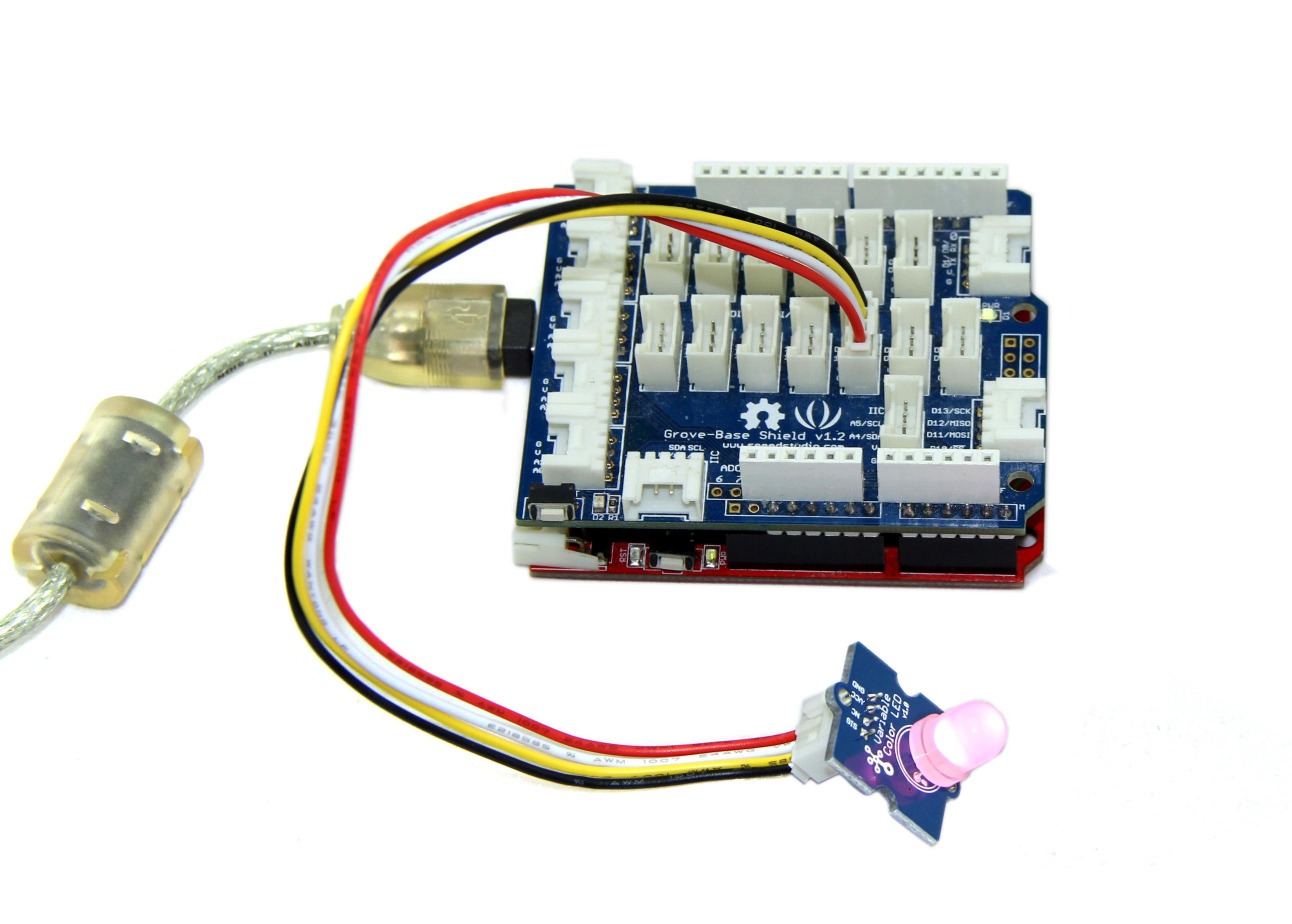 Grove Variable Color Led Arduino Tricolour Flasher Circuit As The Picture On Below Indicates Is Connected To Digital Port 9 Of Base Shield Hardware Installation