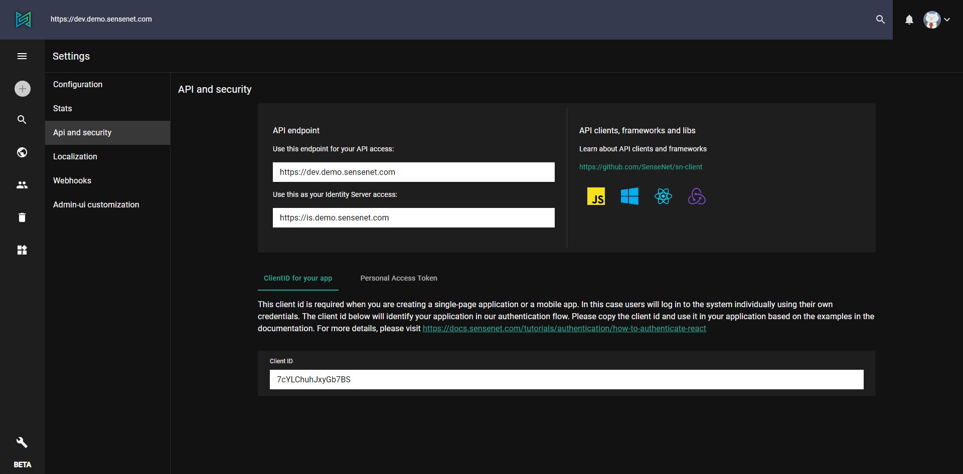 API and Security - Settings