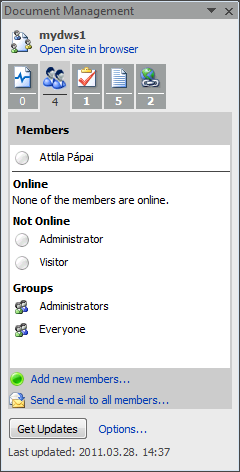 Document management pane members