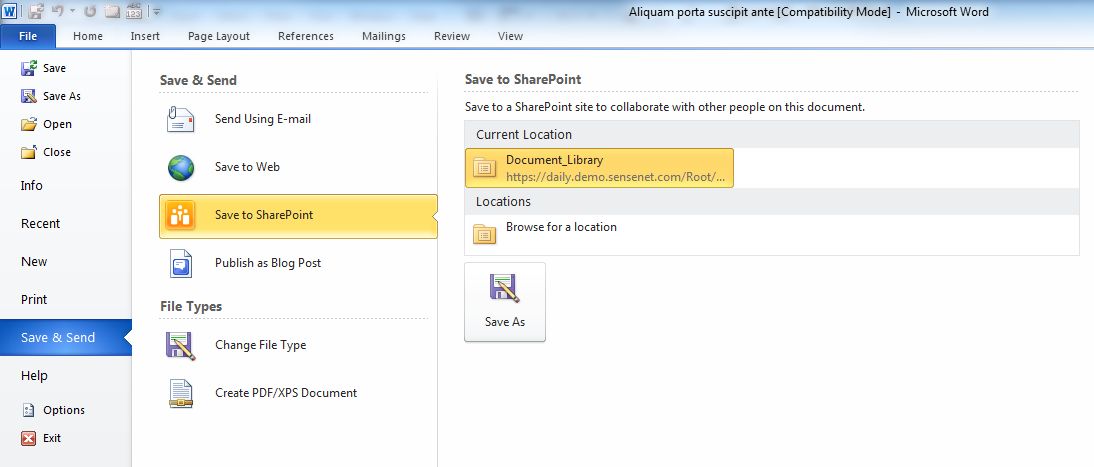 Publish to document management server 2010