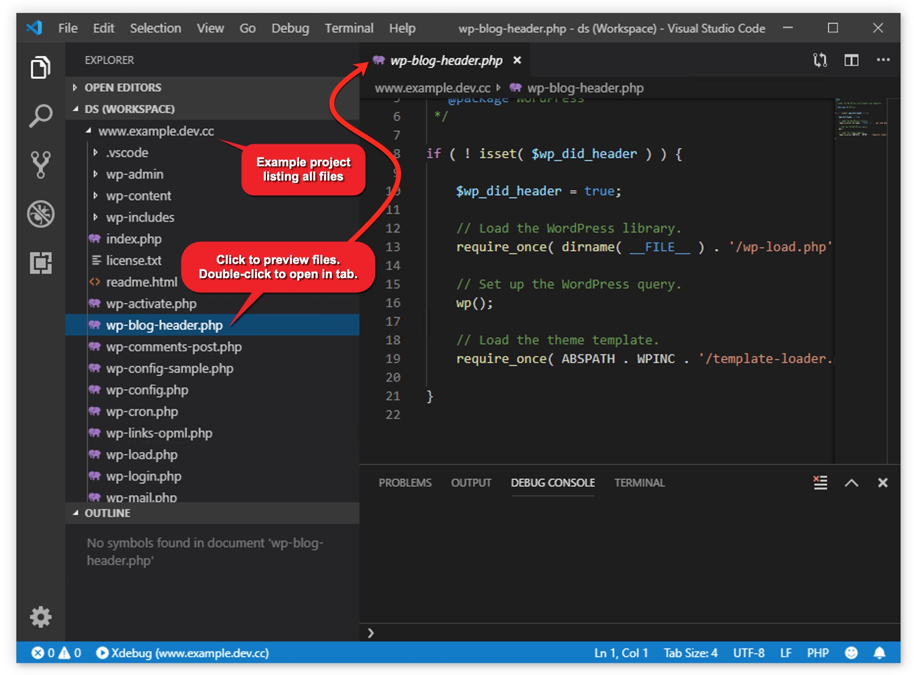 Visual Studio Code's text editing area