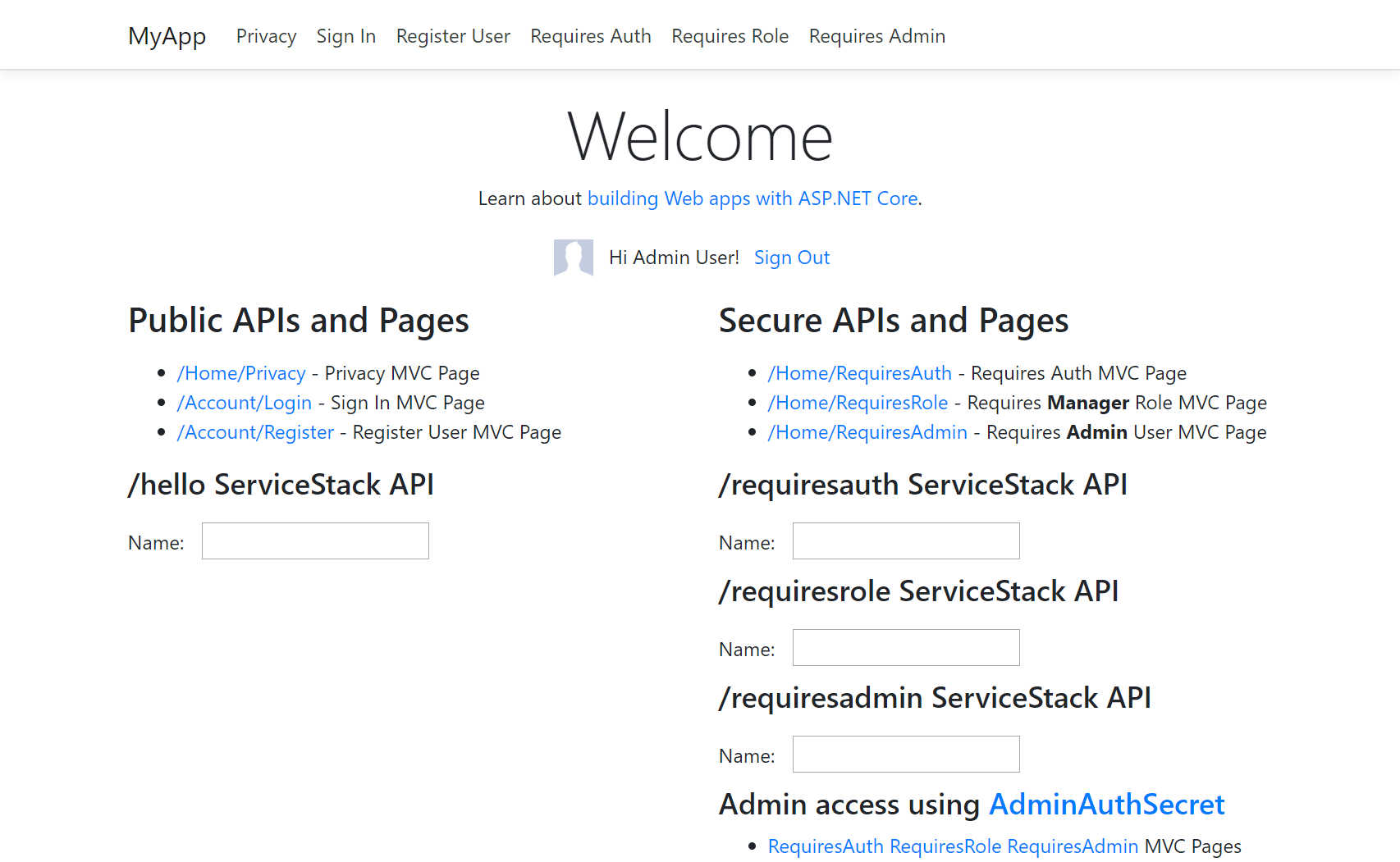 Using ServiceStack Auth in MVC