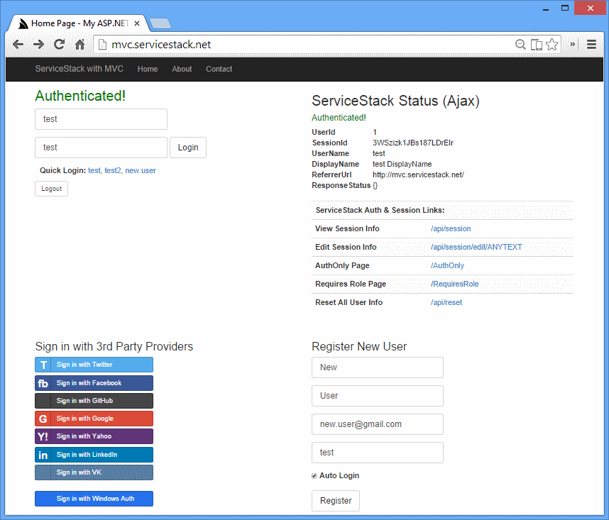 MVC with ServiceStack Authentication