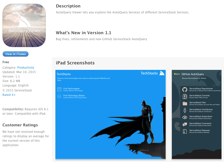 AutoQuery Viewer on AppStore