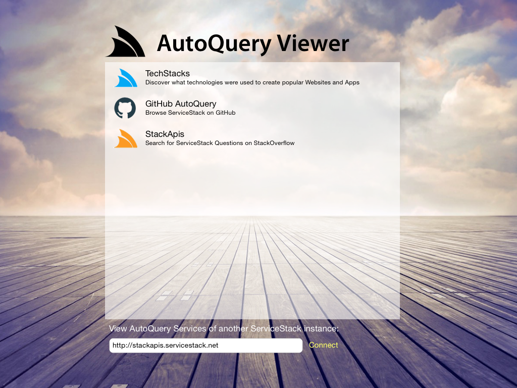 AutoQuery Viewer Home