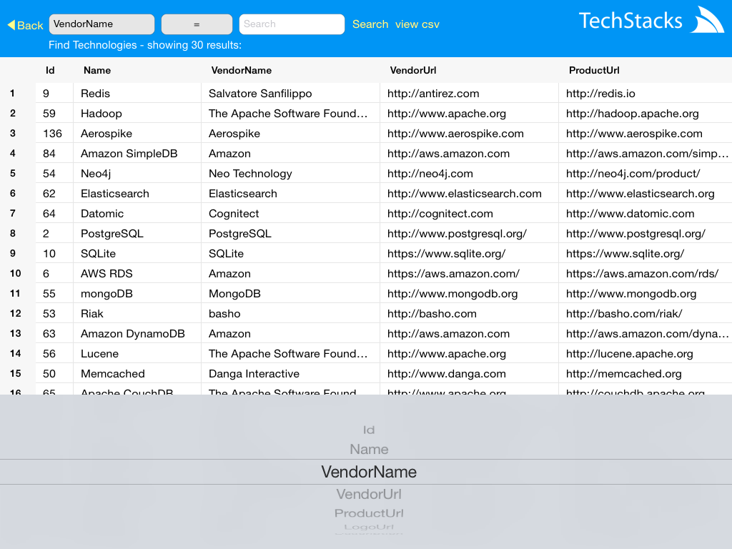 TechStacks Column Picker