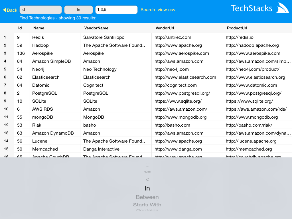 TechStacks Query Type Picker