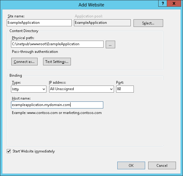 Create IIS application