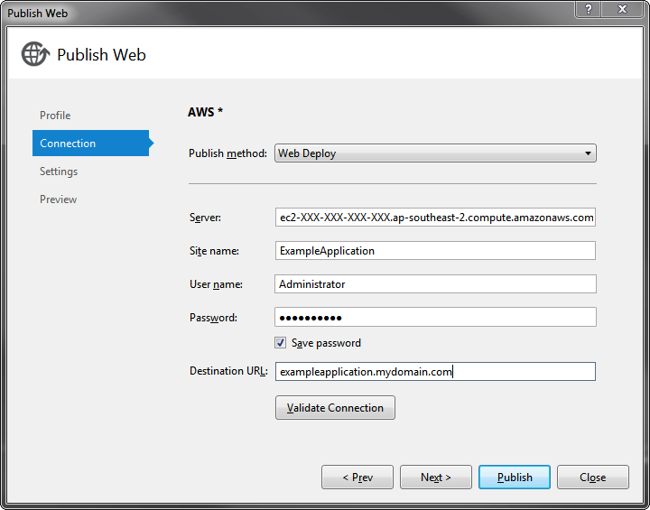 Web deploy profile settings