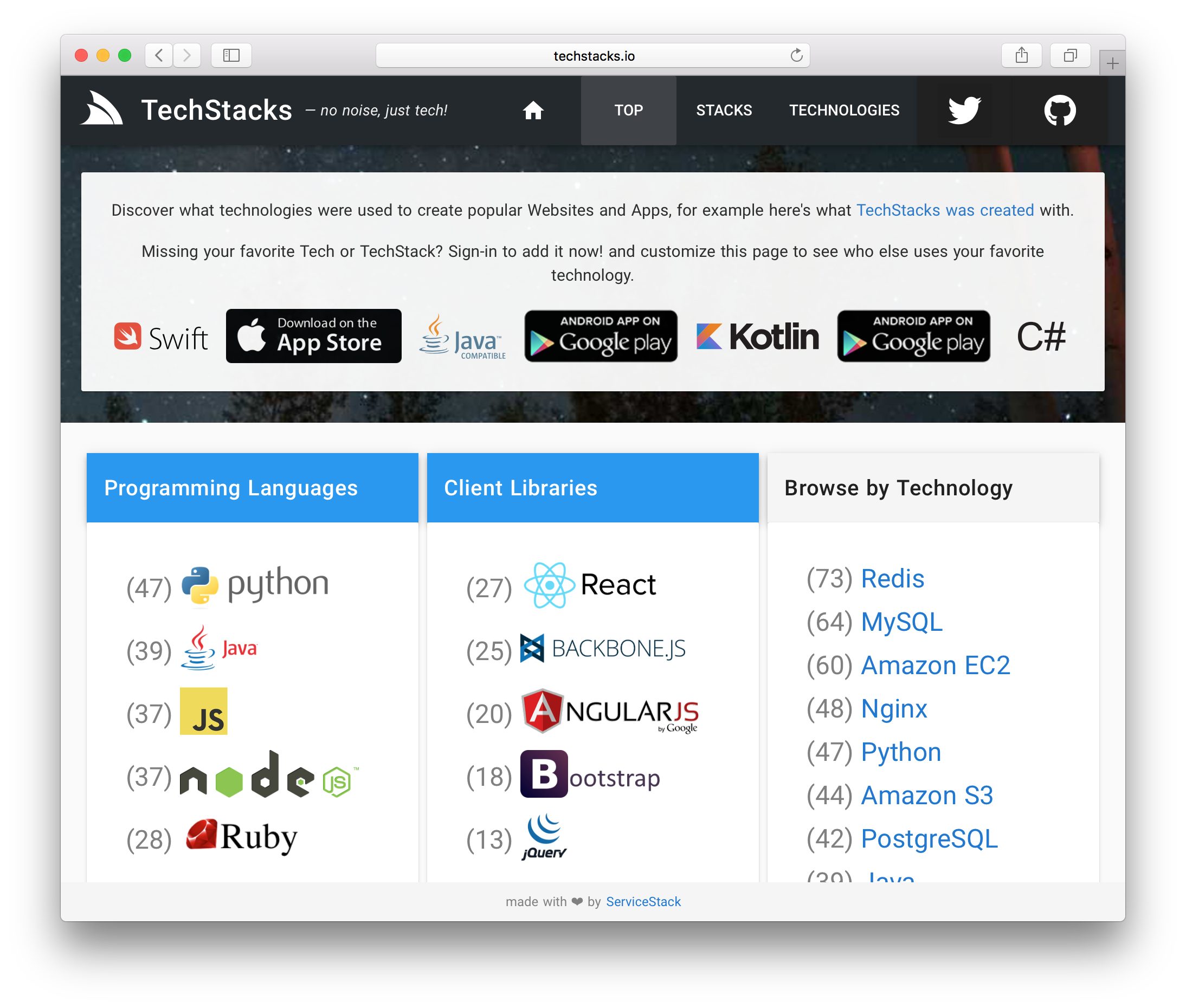 GitHub - NetCoreApps/TechStacks: TechStacks Web App created