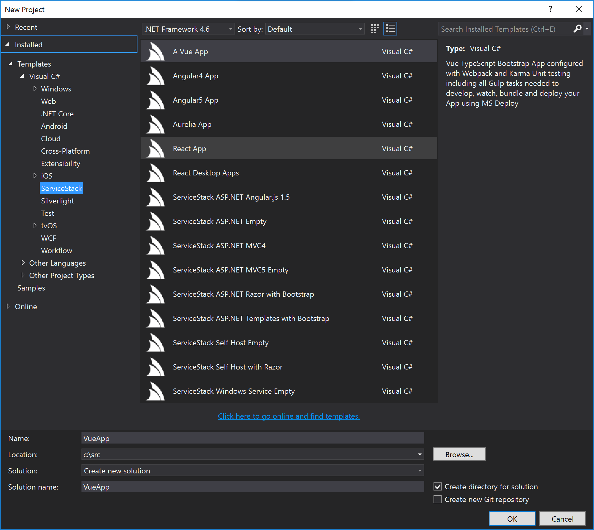 ServiceStack VS.NET Templates Dialog