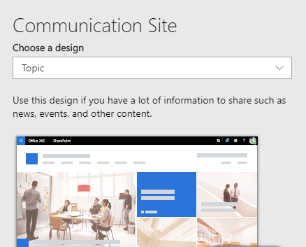 Default site design title, description, and image on Communication site template