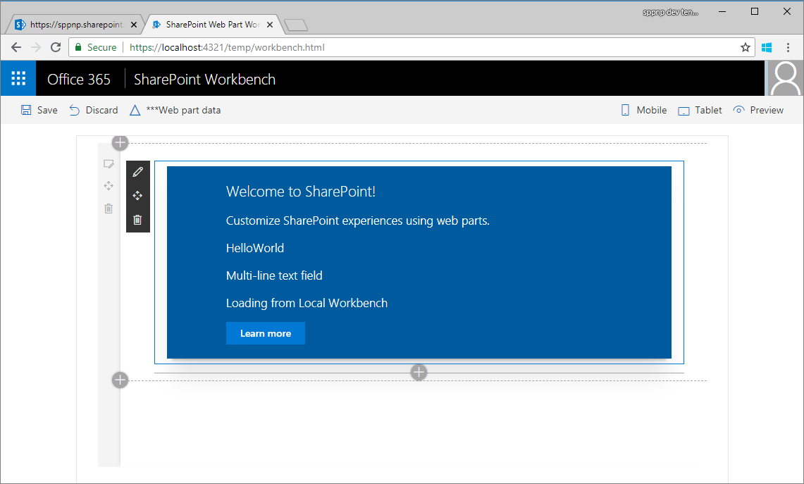 SharePoint page context in localhost