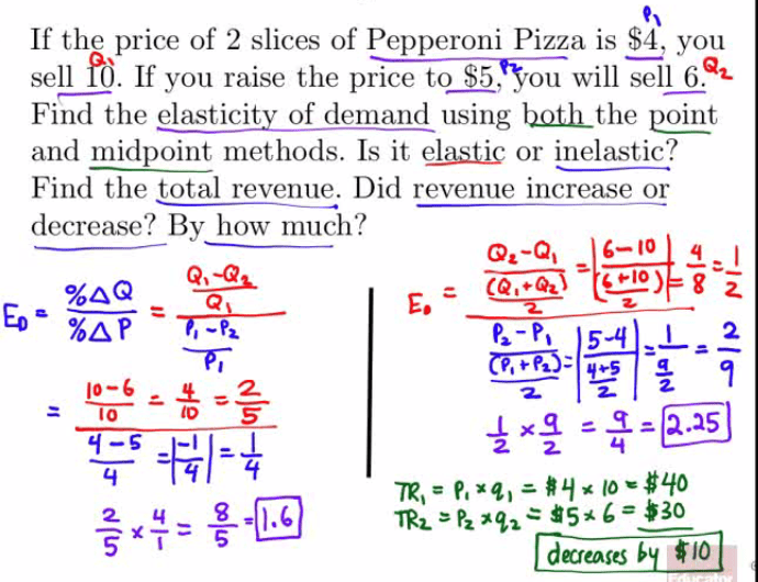 If the price of 2 slices of Pepperoni Pizza is $4, you sell R). If you raise the prÄ835'SÄwill sell 6.Qt Find the elasticity of demand using 12.QLh_the point and midpoint methods. Is it elastic or inelastic? Find the total revenue. Did revenue increase or decrease? By how much? 10 $30 dueasesb $10