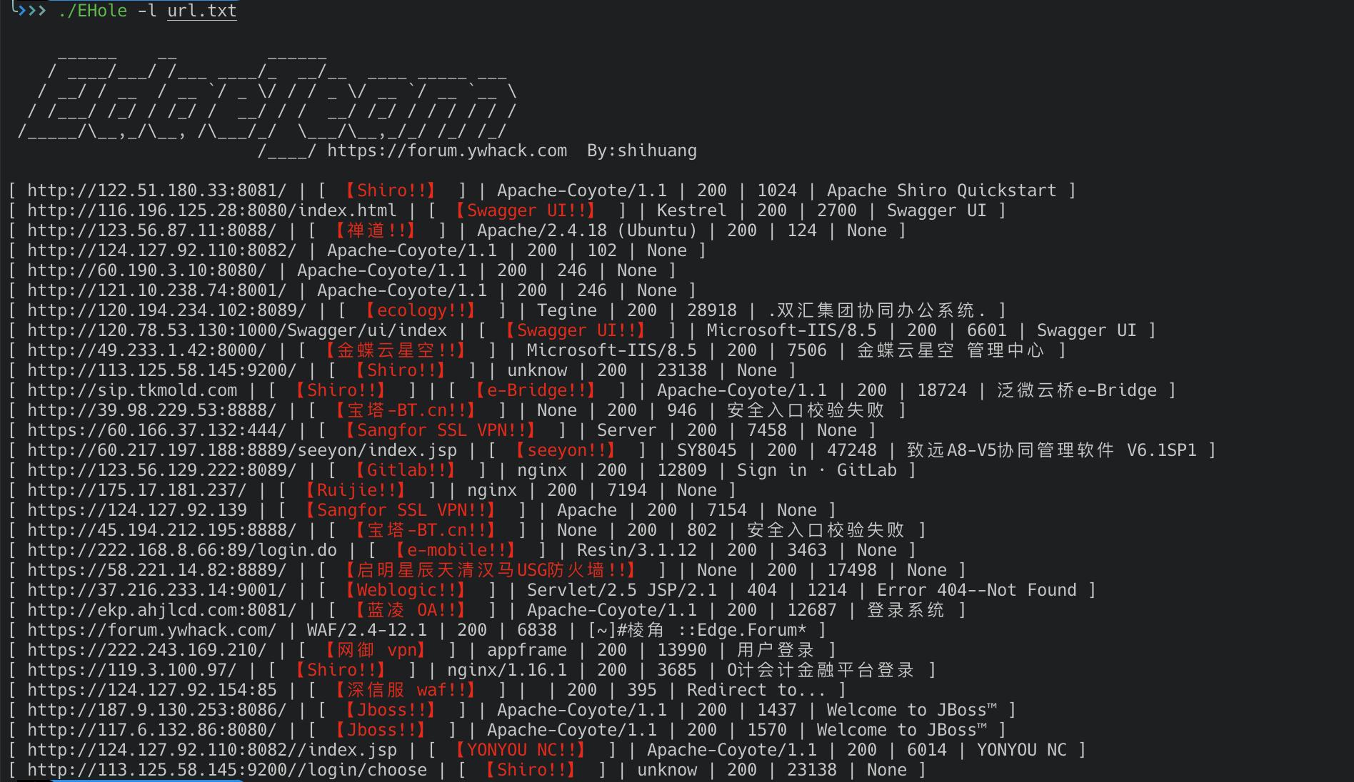 EHole(棱洞)-红队重点攻击系统指纹探测工具