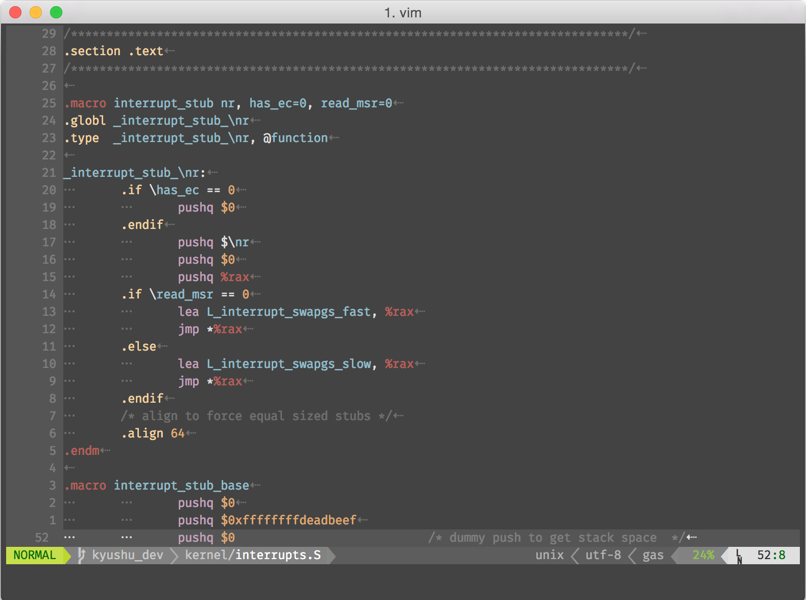 assembly vim syntax highlighting - Stack Overflow