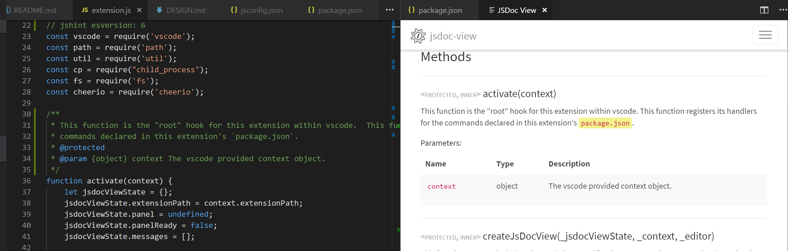 Screenshot of jsdoc view in action!