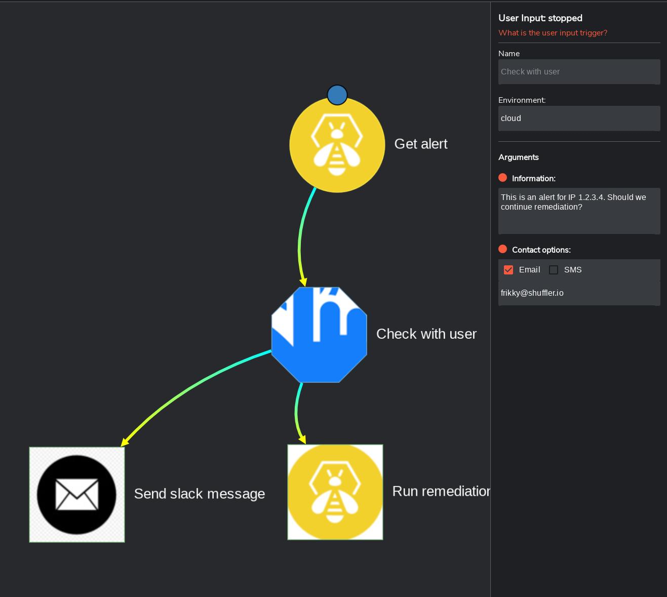 User input node Shuffle
