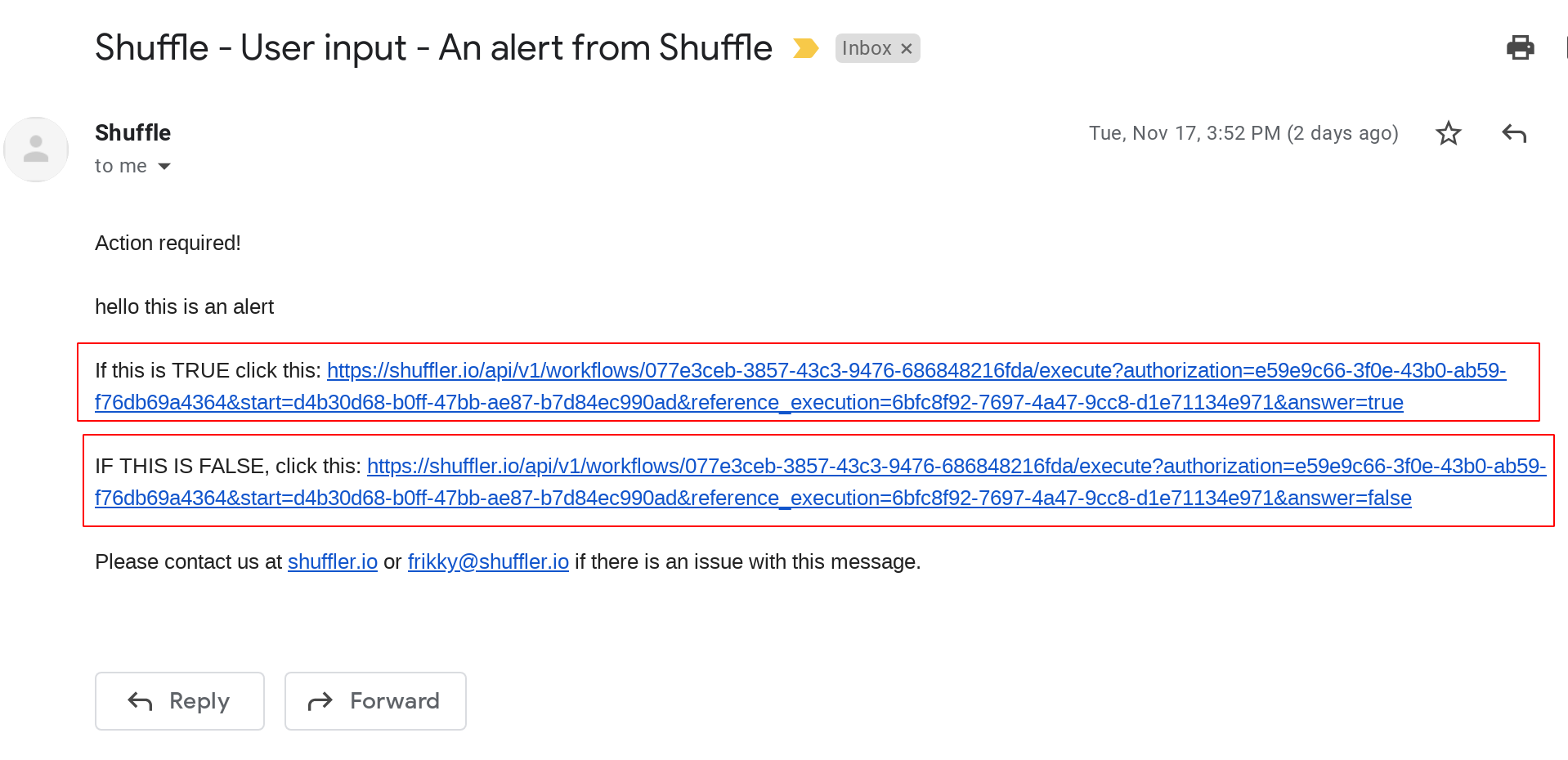 User input email Shuffle