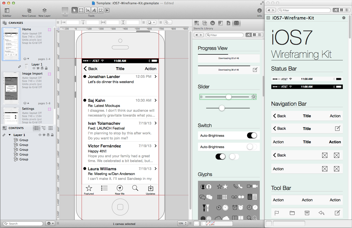 iOS 7 Wireframe Kit Preview (Omnigraffle)