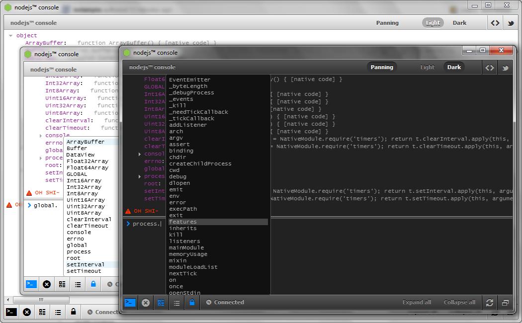 NodeJS Console Object Debug Inspector