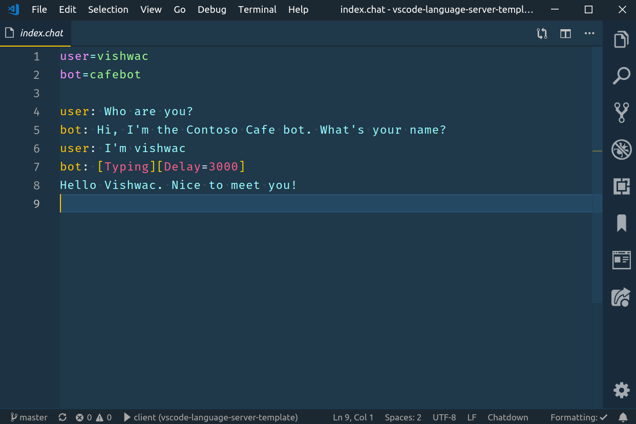 screenshot of the syntax highlighting