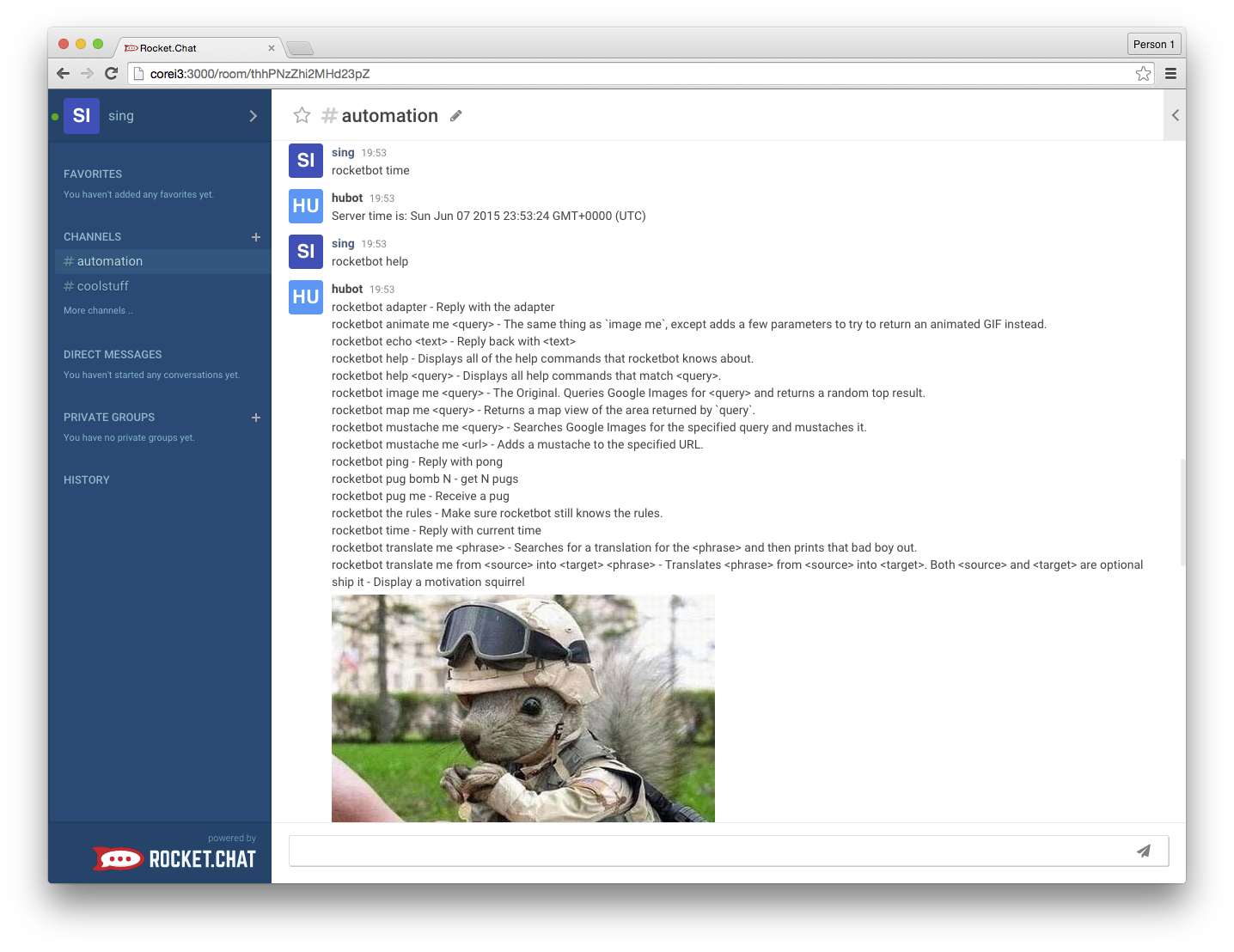 picture of a sample interaction with rocketbot