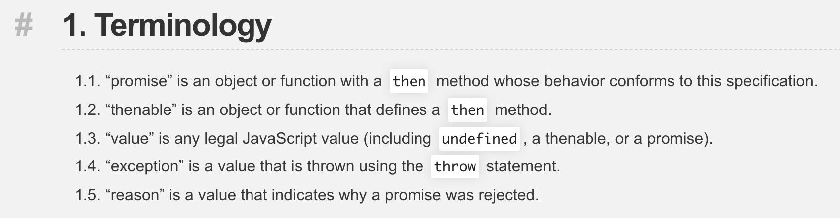 Promises/A+ Terminology
