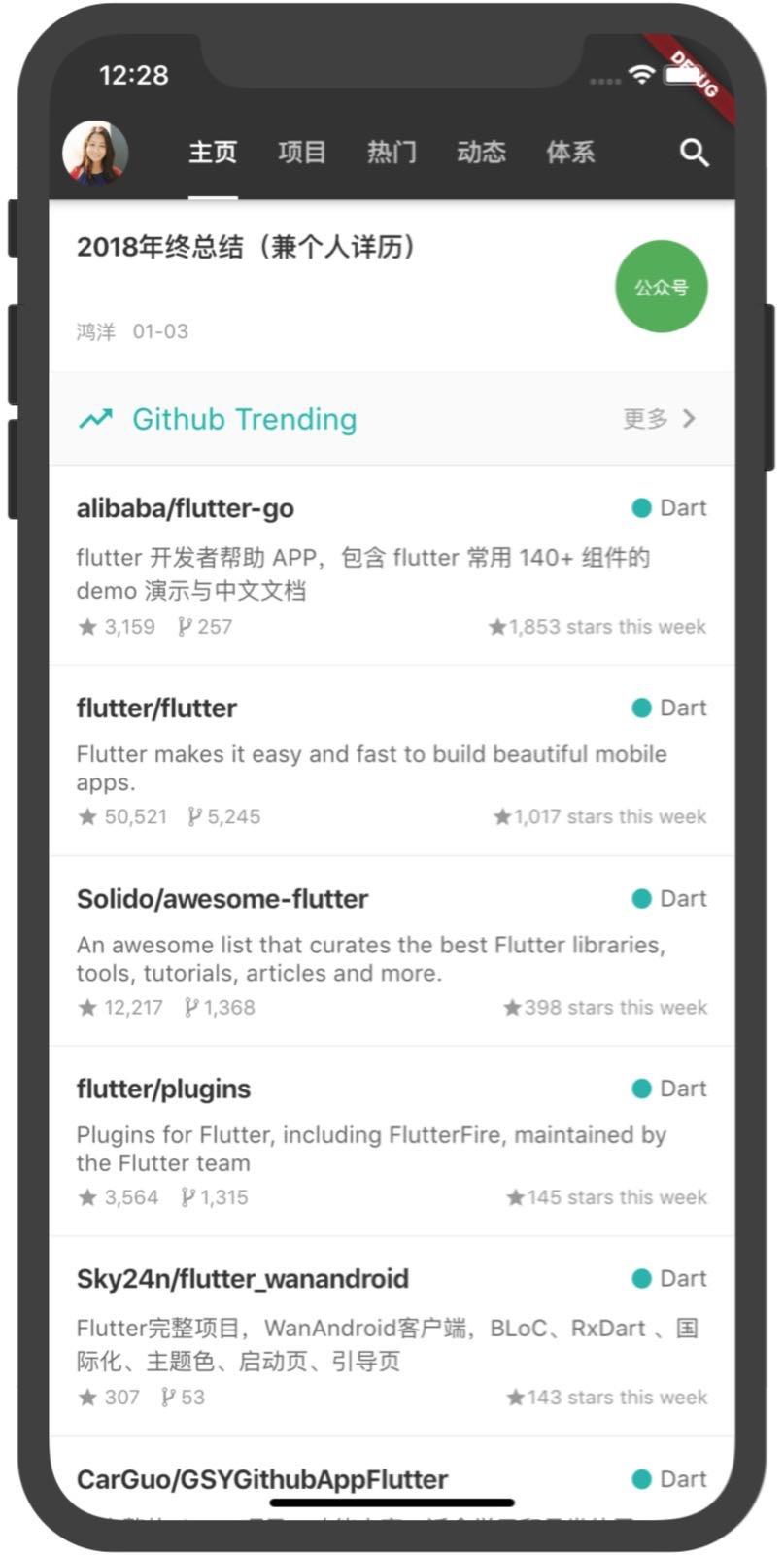 Flutter github