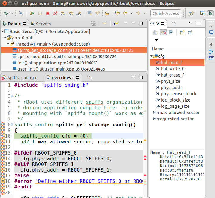 Debugging Session in Eclipse CDT
