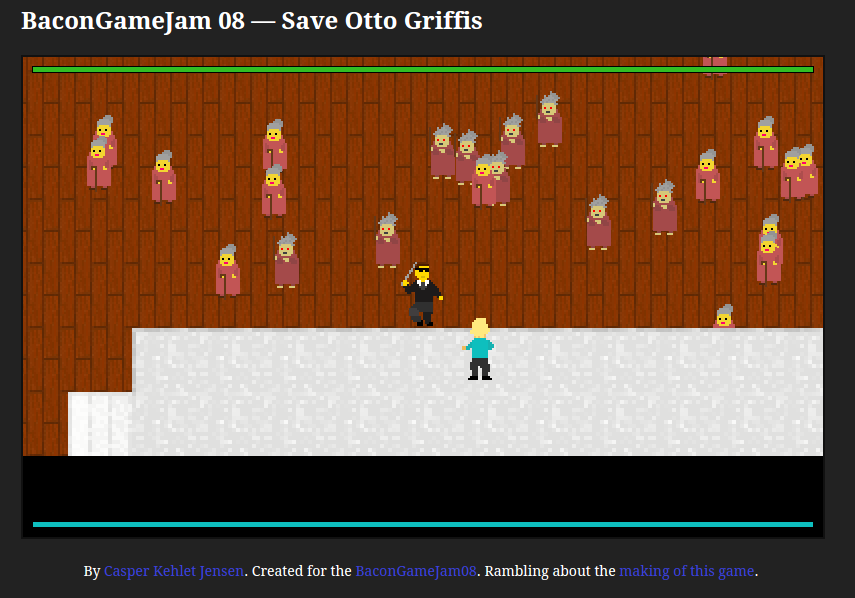 Save Otto Griffis (stage performer, in blue) while avoiding/defeating zombie ladies
