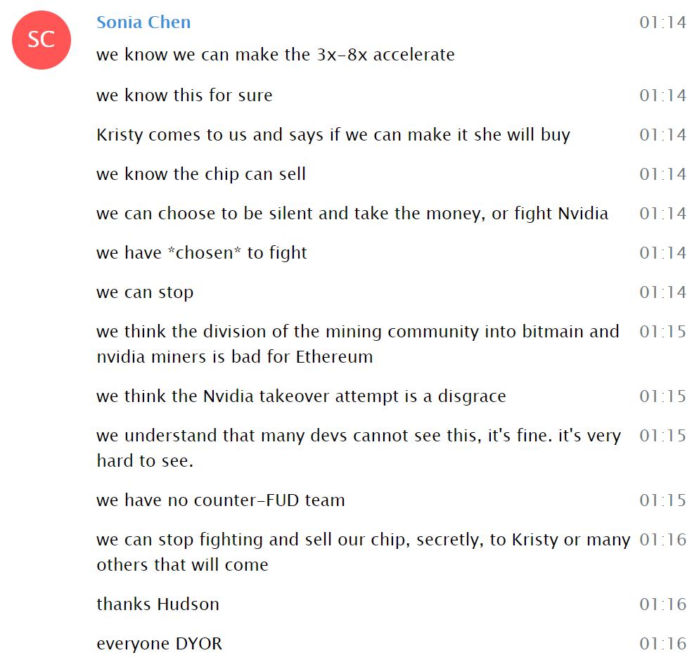 Linzhi statement in Telegram
