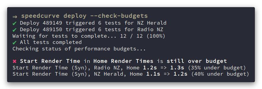 SpeedCurve CLI screenshot