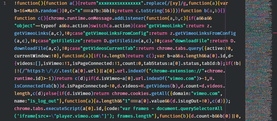 Minified code