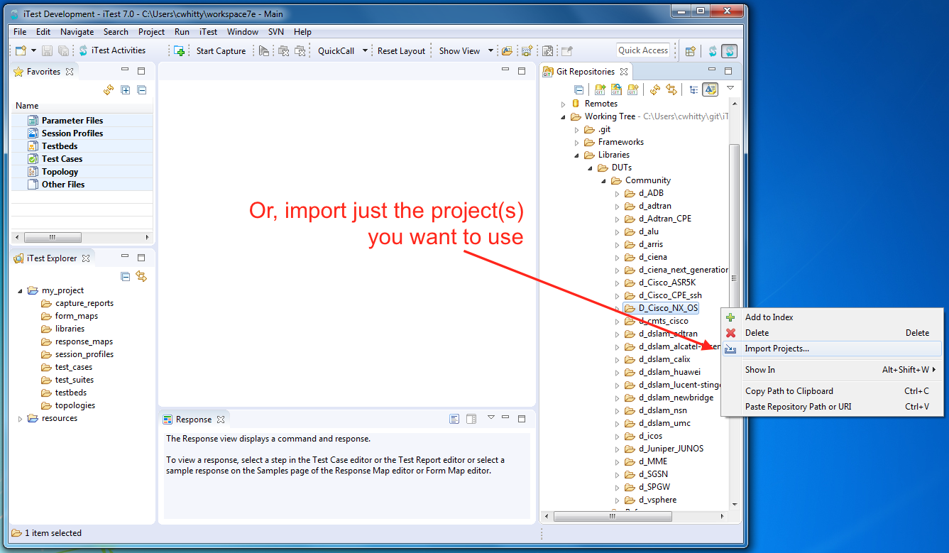 Import individual projects