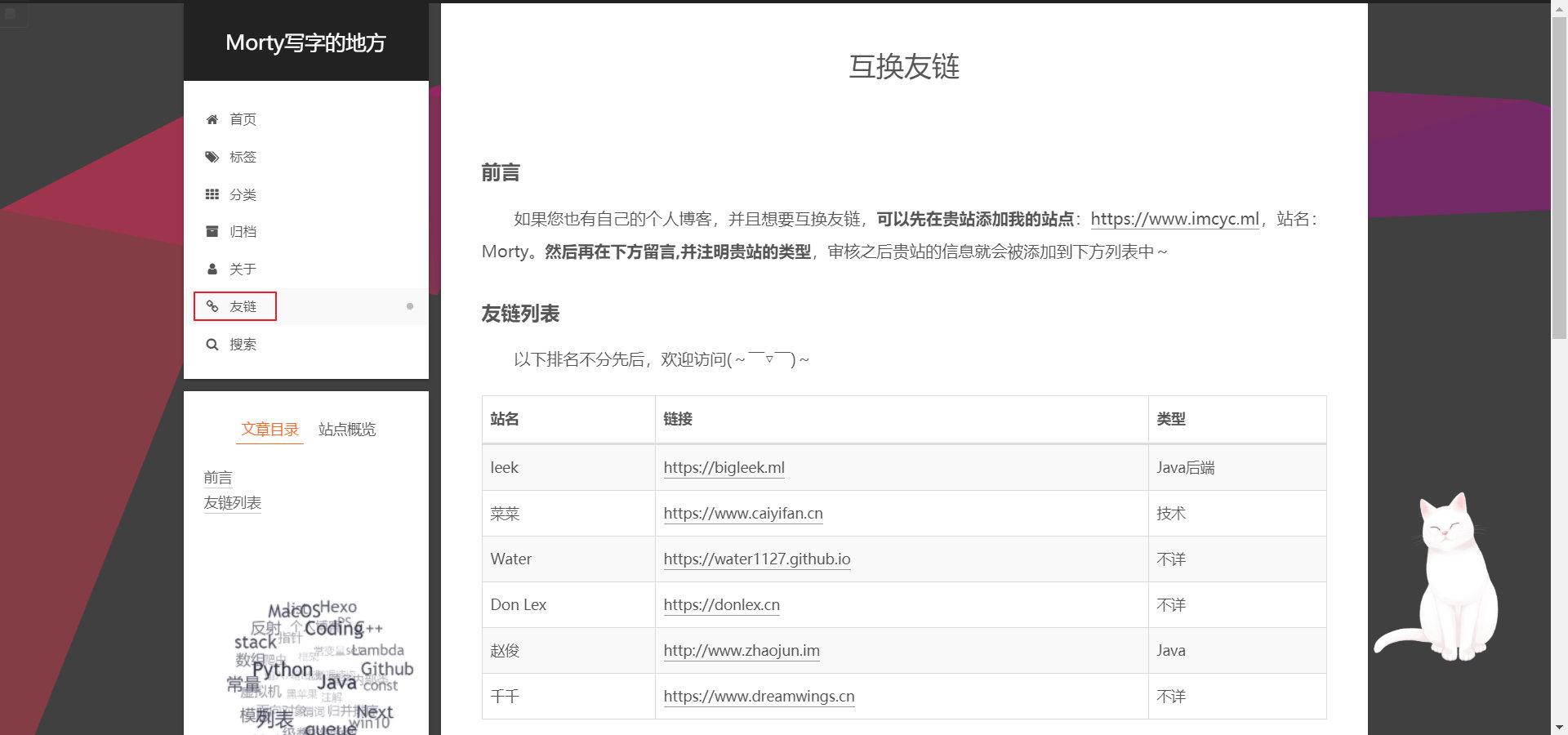 图2 友链网页示意图