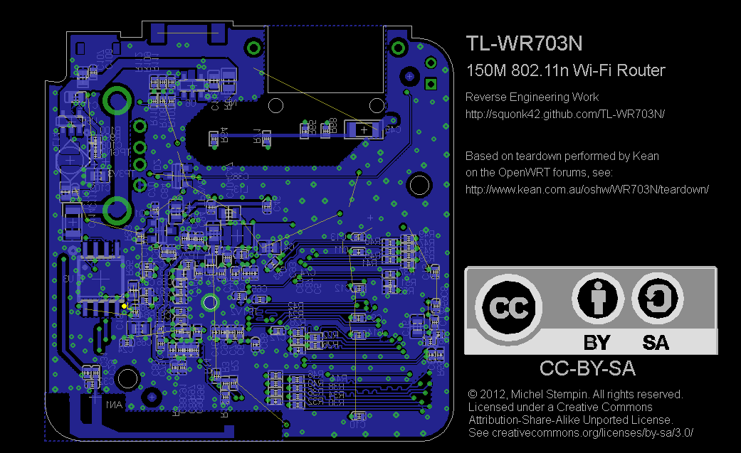 TL-WR703N PCB Bottom in EagleCAD