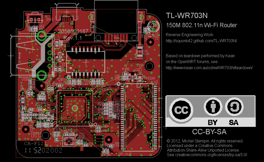 TL-WR703N PCB Top in EagleCAD