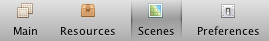 Scenes Button in Toolbar