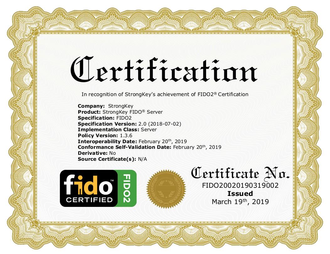 StrongKey FIDO Certificate
