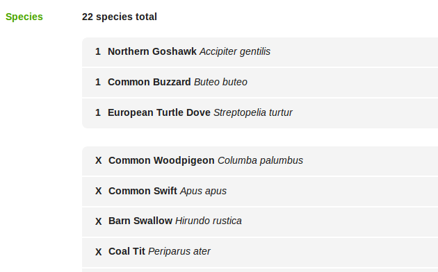 Species with counts are first