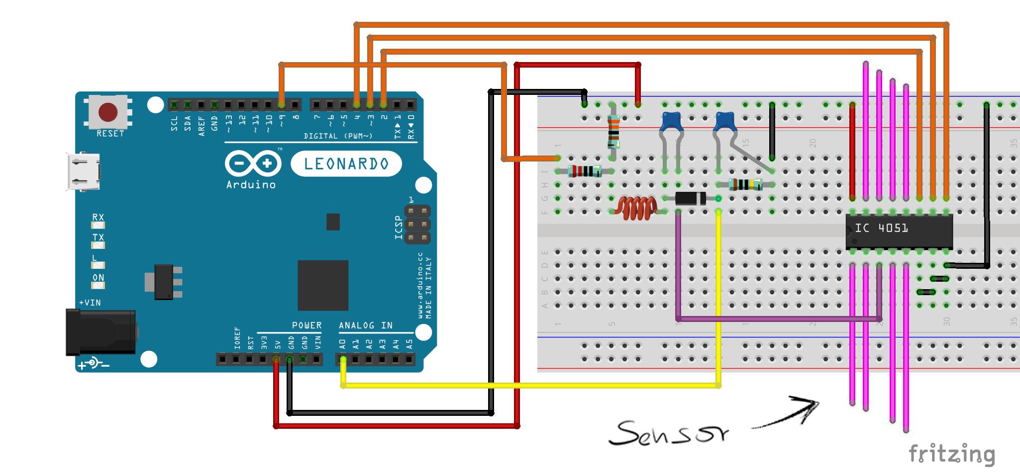Breadboard setup for Tact Multiplexed sensor