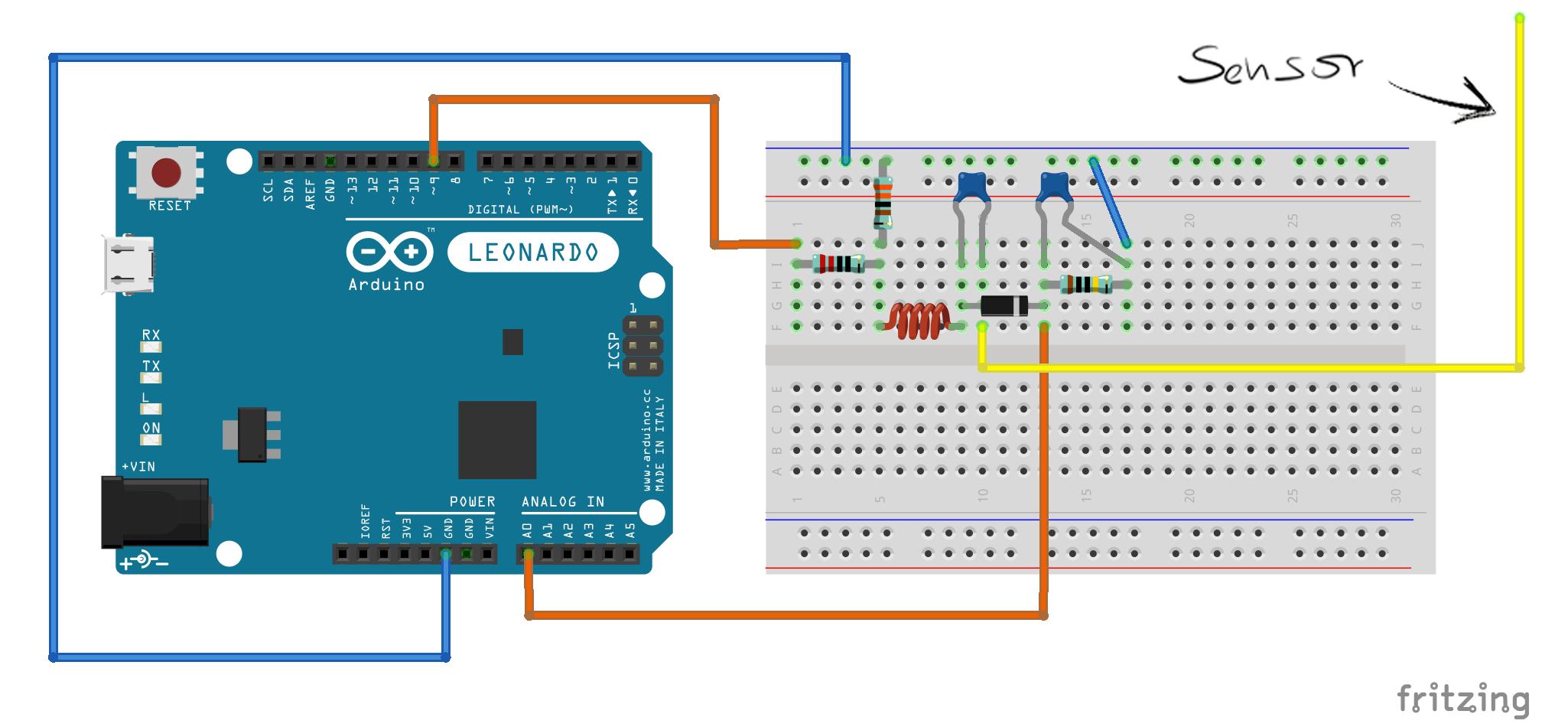 Breadboard setup for Tact single sensor